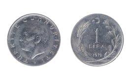 Турецкая монетка, номинальная стоимость 1 лиры Стоковые Фотографии RF