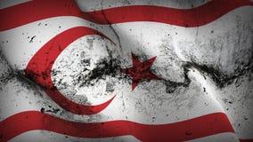 Турецкая республика флага северного grunge Кипра пакостного развевая на ветре бесплатная иллюстрация