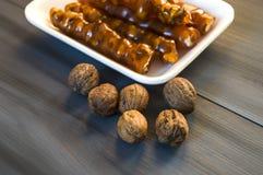 Турецкая сосиска грецкого ореха, изображения турецкого наслаждения грецкого ореха турецкого наслаждения, сделанные с мелассой и н Стоковая Фотография RF