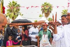 Турецкая фотография kebab, adana фестиваля Adana улица гастрономического приправляет в октябре 2018 в Турции стоковые изображения
