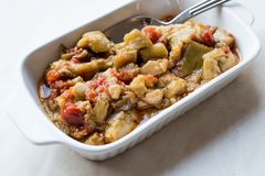 Турецкие баклажан еды закуски/салат Aubergine с оливковым маслом/Patlican Ezmesi стоковые изображения rf
