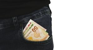 Турецкие банкноты на фото запаса кармана джинсов стоковые фото