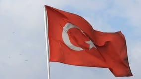 Турецкие волны национального флага в ветре против неба акции видеоматериалы