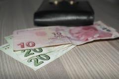 Турецкие деньги и бумажник стоковые фотографии rf