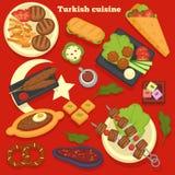 Турецкие еды кухни и путешествовать рецептов блюд кулинарный иллюстрация вектора