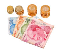Турецкие деньги на белой предпосылке Стоковые Изображения RF