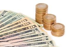 Турецкие монетки и банкнота доллара на белой предпосылке Стоковое Изображение RF