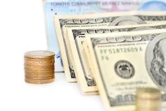 Турецкие монетки и банкнота доллара на белой предпосылке Стоковое Изображение