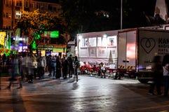 Турецкий городской центр на ноче Стоковая Фотография RF