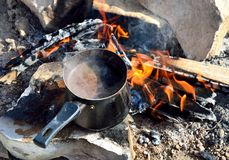 Турецкий кофе на пламенах Стоковое Изображение RF