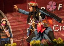 Турецкий фольклорный танцор на международном празднестве стоковые фотографии rf