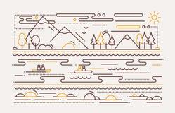 Туризм воды - линия плоская иллюстрация дизайна бесплатная иллюстрация
