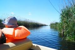 Туризм в перепаде Дуная, перепад Dunarii шлюпки Румынии Стоковое Изображение RF