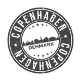 Туризм перемещения вектора печати дизайна горизонта города кнопки Копенгагена Дании Европы кругом бесплатная иллюстрация