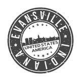 Туризм перемещения вектора печати дизайна горизонта города кнопки Evansville Индианы США кругом бесплатная иллюстрация