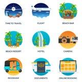 Туризм Установленная иллюстрация путешествовать Современный плоский дизайн Путешествуйте самолетом, отдохните, рискуйте, задейств бесплатная иллюстрация