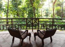 Туризм Eco, патио курорта с естественным взглядом джунглей Стоковые Изображения RF