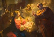ТУРИН, ИТАЛИЯ - 13-ОЕ МАРТА 2017: Деталь картины рождества в Duomo Giovanni Comandu da Mondovi 1795 Стоковые Изображения