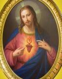 ТУРИН, ИТАЛИЯ - 13-ОЕ МАРТА 2017: Картина сердца Иисуса в церков Chiesa di Санте Teresia Tommaso Lorenzone Стоковое Фото