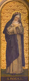 ТУРИН, ИТАЛИЯ - 13-ОЕ МАРТА 2017: Картина St Rosalia в церков Chiesa di Santo Tomaso неизвестным художником от и 19 цент Стоковое фото RF