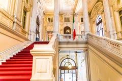 Турин, Пьемонт, Италия, 19-ое августа 2017 Внутренняя лестница Ca Стоковое Изображение