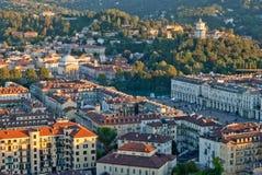 Турин (Турин), Италия, панорамный взгляд на аркаде VI стоковое фото rf
