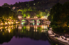 Турин (Турин), река Po и Ponte Isabella Стоковое фото RF