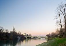Турин (Турин), река Po Стоковые Изображения RF