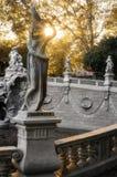 Турин, фонтан 12 месяцев на заходе солнца Стоковое Изображение RF