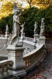 Турин, фонтан 12 месяцев на заходе солнца Стоковое Фото