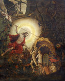 Турин - paintig воскрешенного christ в заточении с Адамом и Ева и патриарх в церков Marienkirche Стоковое Изображение