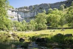 Туристическая достопримечательность национального парка участков земли Йоркшира бухты Malham стоковое изображение