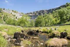 Туристическая достопримечательность национального парка участков земли Йоркшира бухты Malham стоковое изображение rf
