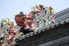 Туристические достопримечательности Гуанчжоу, Китая известные, зала Chen родовая на крыше стиля Арт Деко льва Стоковая Фотография