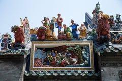 Туристические достопримечательности Гуанчжоу, Китая крыша известные, зала Chen родовая, разнообразие мифологические диаграммы и р Стоковые Фото