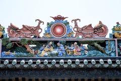 Туристические достопримечательности Гуанчжоу, Китая крыша известные, зала Chen родовая, все виды характеров и лев сформировали ст Стоковые Фотографии RF