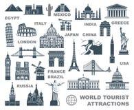 Туристические достопримечательности мира значков Стоковые Фото