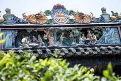 Туристические достопримечательности ` s Гуанчжоу, Китая известные, зала Chen родовая, крыша с процессом прессформы известки для т Стоковые Изображения