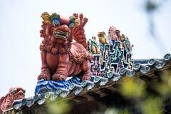 Туристические достопримечательности ` s Гуанчжоу, Китая известные, зала Chen родовая, крыша с процессом прессформы известки для т Стоковое Изображение RF