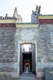 Туристические достопримечательности ` s Гуанчжоу, Китая известные, зала Chen родовая, которая одна из группы здания, задняя дверь Стоковые Фотографии RF