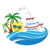 Туристическое судно на волне и солнце иллюстрация вектора