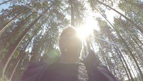 Туристская женщина наслаждаясь природой на солнечный день в отдыхе релаксации взгляда вращения соснового леса 360 и концепции пер видеоматериал