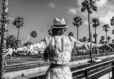 Туристская женщина на обваловке в ликование Барселоне, Испании стоковое фото