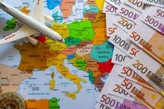 Туристская карта Европы с Боингом для перемещения стоковое фото rf