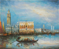 Туристская принимая езда гондолы в Венеции Италии - картине маслом стоковые фото