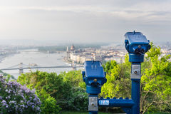 Туристские бинокли на Будапеште Стоковое Изображение RF