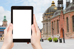 Туристские фотоснимки квадрата (Birger Jarls Torg) Стоковое Изображение RF