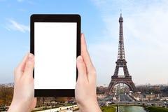 Туристские фотоснимки Эйфелевой башни в Париже Стоковое фото RF