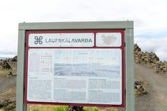 Туристский знак на Laufskalavarda стоковая фотография