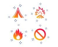 Туристский знак располагаясь лагерем шатра Значки пламени огня r иллюстрация вектора